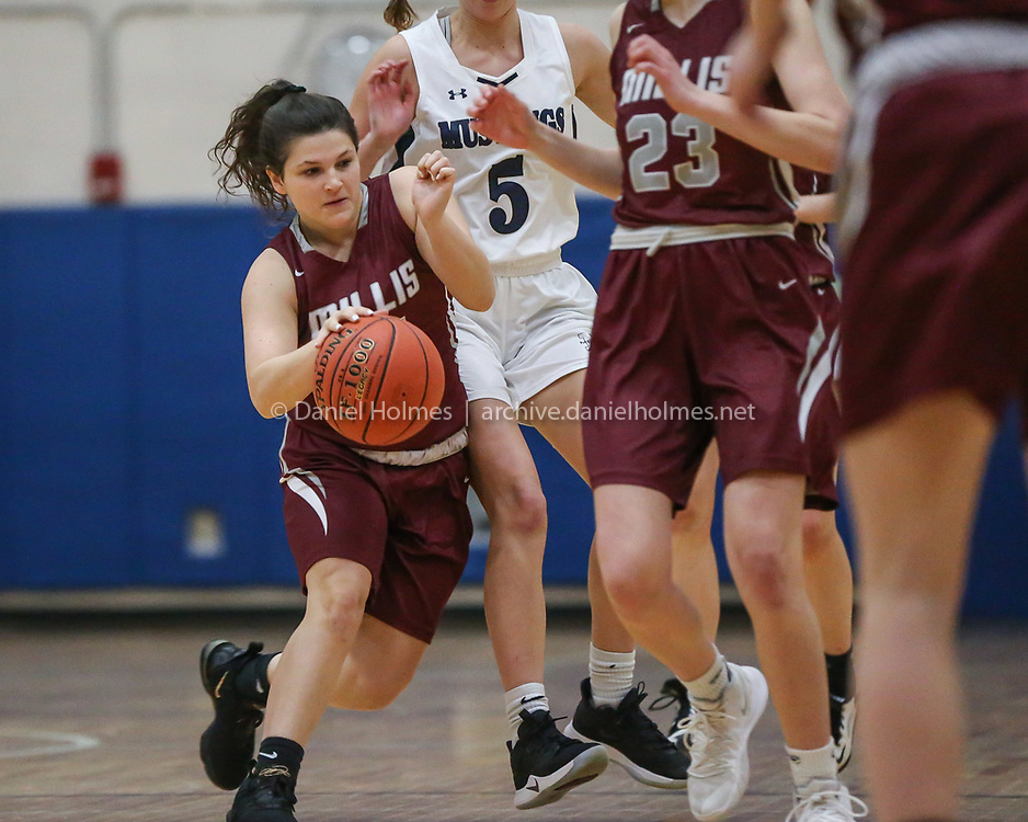 (2/7/20, MEDWAY, MA) Millis' Caileen Adams drives to the basket during the girls basketball game against Medway at Medway High School on Friday. [Daily News and Wicked Local Photo/Dan Holmes]