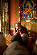 Disciples listen to a lecture by Ogyen Trinley Dorje, His Holiness, The seventeenth reincarnation of The Karmapa Lama at the Vajra Vidya Institute for Buddhist studies in Sarnath, India