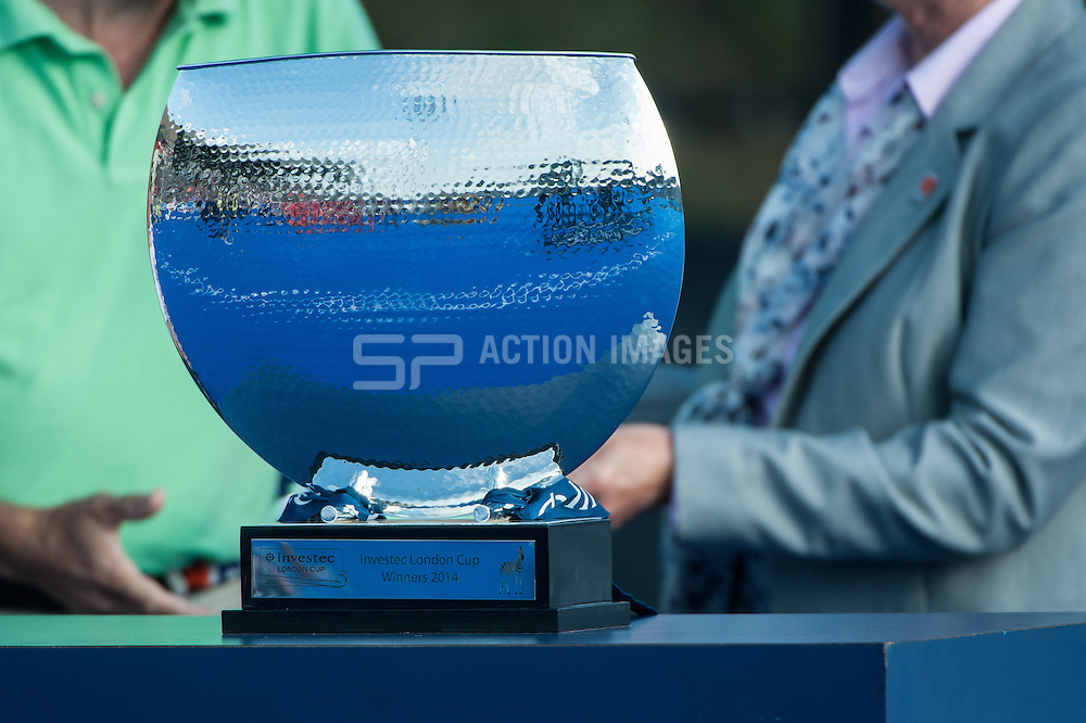 The winners trophy awaits the presentation after the Final of the Investec London Cup. Lee Valley Hockey & Tennis Centre, London, UK on 13 July 2014. Photo: Simon Parker
