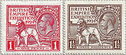 """1924 British Empire Exhibition """"Wembley"""" Stamps (Great Britain, King George V) One Penny Red and Three halfpence Brown Designed by H. Nelson. Printing plates engraved by J. A. C. Harrison. Printed by Waterlow and Sons."""