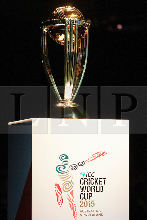© Licensed to London News Pictures. 30/7/2013. ICC cricket world cup trophy during the official launch of the I.C.C Cricket World Cup to be held in Australia and New Zealand in 2015, Melbourne, Australia. Photo credit : Asanka Brendon Ratnayake/LNP