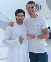 """Cristiano Ronaldo releases a photo on Instagram with the following caption: """"Great time together @faz3 !\ud83d\udc4d\ud83c\udffd #mydubai"""". Photo Credit: Instagram *** No USA Distribution *** For Editorial Use Only *** Not to be Published in Books or Photo Books ***  Please note: Fees charged by the agency are for the agency's services only, and do not, nor are they intended to, convey to the user any ownership of Copyright or License in the material. The agency does not claim any ownership including but not limited to Copyright or License in the attached material. By publishing this material you expressly agree to indemnify and to hold the agency and its directors, shareholders and employees harmless from any loss, claims, damages, demands, expenses (including legal fees), or any causes of action or allegation against the agency arising out of or connected in any way with publication of the material."""