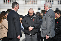 © Licensed to London News Pictures. 11/11/2019. London, UK. A minutes silence is held at Trafalgar Square in central London on Remembrance Day. On the eleventh hour of the eleventh day of the eleventh month a silence is held to commemorate the time the armistice signed between the Allies and Germany in World War One, to remember those who have died in conflict. Photo credit: Ben Cawthra/LNP