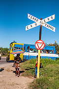 Cuba Santiago de Cuba, Ferro Carril Crucero rail level crossing. An old bus used as a train