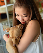 Volunteer Tess Maribao holds a rescued dog at a Dogs Without Borders adoption fair in Los Angeles.