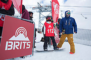 Young competitors get ready to compete in the The Brits Ski And Snowboard Championships on 5th April 2018 In Laax ski resort, Switzerland. The Brits is a national championships sanctioned by British Ski & Snowboard