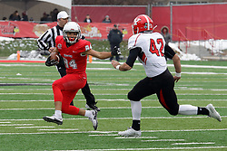 NORMAL, IL - November 17: Andrew Edgar looks to stiff arm Armand Dellovade to get  a few extra yards during a college football game between the ISU (Illinois State University) Redbirds and the Youngstown State Penguins on November 17 2018 at Hancock Stadium in Normal, IL. (Photo by Alan Look)