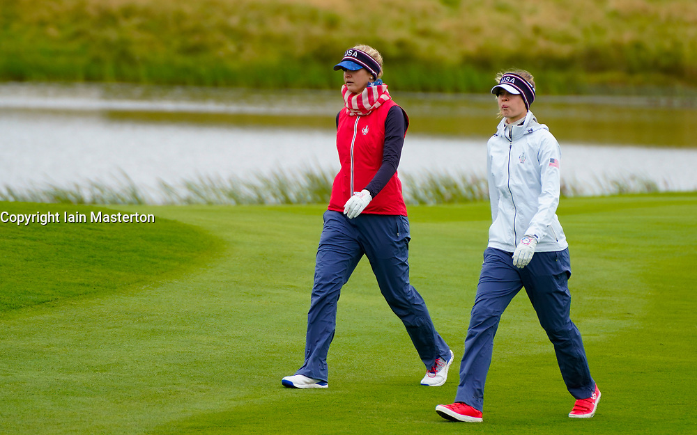Auchterarder, Scotland, UK. 12 September 2019. Final practice day at 2019 Solheim Cup on Centenary Course at Gleneagles. Pictured; Jessica Korda (l) and Nelly Korda walk up 9th fairway. Iain Masterton/Alamy Live News