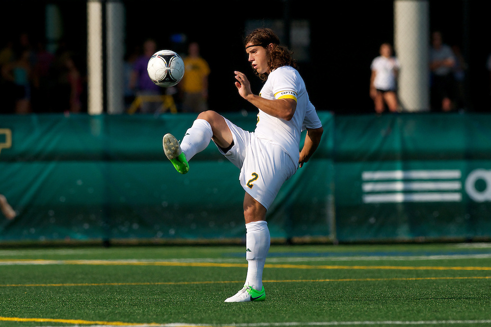 Catamounts defenseman Sean Sweeney (2) in action during the men's soccer game between the Central Connecticut State University Blue Devils and the Vermont Catamounts at Virtue Field on Friday afternoon September 7, 2012 in Burlington, Vermont.