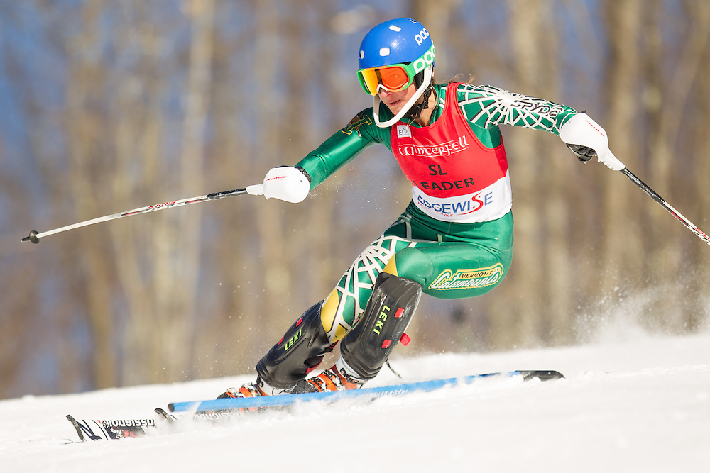 Kate Ryley of the University of Vermont, skis during the second run of the women's slalom at the Dartmouth Carnival at Dartmouth Skiway on February 8, 2014 in Lyme, NH. (Dustin Satloff/EISA)
