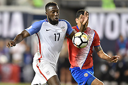September 1, 2017 - Harrison, New Jersey, U.S - USMNT forward JOZY ALTIDORE (17) controls a high pass in front of Costa Rica defender JOHNNY ACOSTA (2) during a World Cup Qualifier at Red Bull Arena in Harrison New Jersey Costa Rica defeats USA 2 to 0 (Credit Image: © Brooks Von Arx via ZUMA Wire)