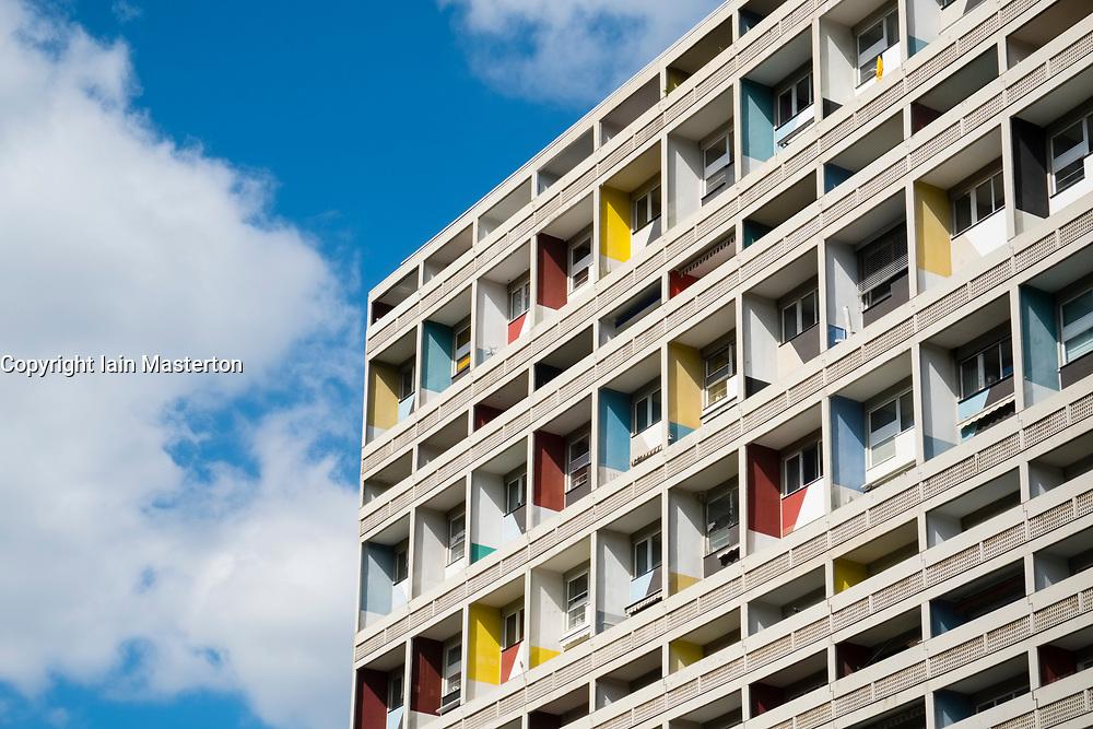 External view of Corbusierhaus modernist apartment building built as Unite d'Habitation in Berlin, Germany