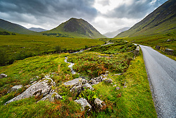 View of  Glen Etive, Highland Region, Scotland, Uk