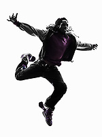 one hip hop acrobatic break dancer breakdancing young man jumping silhouette white background