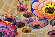 Decorated ceiling in the Bellagio hotel and Casino, Las Vegas, Nevada, USA