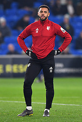 Watford's Andre Gray warming up before the game during the Premier League match at the Cardiff City Stadium.