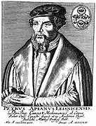 Peter Apian (Petrus Apianus 1495-1552) German mathematician and astronomer. Copperplate engraving