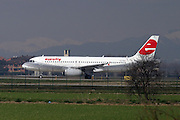 Italy, Milan, Linate Airport, Eurofly passenger jet at take off