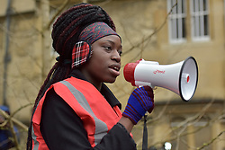 © Licensed to London News Pictures. 09/03/2016 Princess Ashilokun outside Oriel College. Speeches and songs. Rhodes must fall demonstration and march through Oxford. Protest outside Oriel College followed by a march through the streets of Oxford. Photo credit : MARK HEMSWORTH/LNP