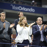 Mirka Federer and coach Stefan Edberg watching Roger Federer, Switzerland, in action against Novak Djokovic, Serbia, in the Men's Singles Final during the US Open Tennis Tournament, Flushing, New York, USA. 13th September 2015. Photo Tim Clayton