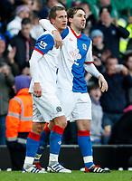 Football - Premiership - Blackburn Rovers vs. Fulham -  Blackburn Rovers Morten Gamst Pederson celebrates the first goal at Ewood Park.