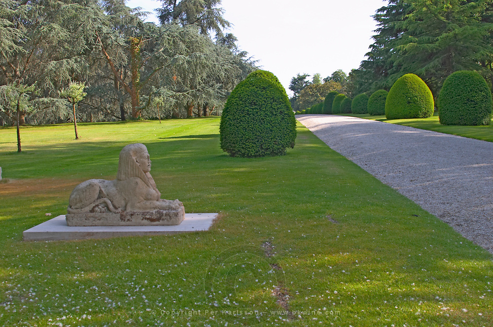 The park garden at Chateau Mouton Rothschild with a stone sphynx (sfinx, sphinx) Pauillac  Medoc  Bordeaux Gironde Aquitaine France