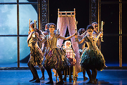 """© Licensed to London News Pictures. 07/12/2012. London, England. World premiere of Matthew Bourne's """"Sleeping Beauty"""" at Sadler's Wells. Running from 4 December 2012 to 26 January 2013. Dancers of this section: Christopher Marney, Mari Kamata, Kate Lyons, Joe Walkling, Sophia Hurdley and Liam Mower. Photo credit: Bettina Strenske/LNP"""