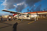 The flight on Mokulele Airlines from Maui to Molokai, Hawaii, USA
