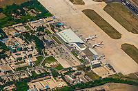 Aerial view of Lhasa Gonggar Airport, near Lhasa, Tibet (China).