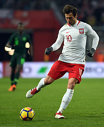 WROCLAW, March 24, 2018  Grzegorz Krychowiak of Poland controls the ball during an international friendly game between Poland and Nigeria in Wroclaw, Poland, on March 23, 2018. Nigeria won 1-0. (Credit Image: © Jaap Arriens/Xinhua via ZUMA Wire)