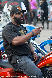 """Damon White of Goose Creek,SC on his Camtech customized 2009 Street Glide at the """"Bikers on the Boulevard"""" event during Daytona Beach Bike Week 2015. FL, USA. March 14, 2015.  Photography ©2015 Michael Lichter."""