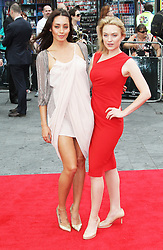 © Licensed to London News Pictures. Carolina Guerra and  Sophia Myles at The Wolverine UK film premiere, Leicester Square, London UK, 16 July 2013. Photo by Richard Goldschmidt/LNP