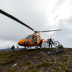 Glacier Helicopters dropping bikes on Mt Cartier in Revelstoke BC