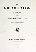 Title page Le Nu au Salon 1908 A collection of Nude photography published in Paris in 1908 by Société nationale des beaux-arts (France). et Société des artistes français. Catalogs of nudes exhibited at the official Paris Salons. Some years have two parts: The Salon held at the Champs Élysées sponsored by the Société des artistes français and the Salon held at the Champ de Mars sponsored by the Société nationale des beaux-arts