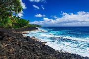 Rocky coastline along the Puna Coast, Pahoa, The Big Island, Hawaii USA