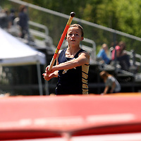 """Falconer's Chelsea Caruso who won the girls pole vault attemps the school record of 10'1"""" photo by Mark L. Anderson"""