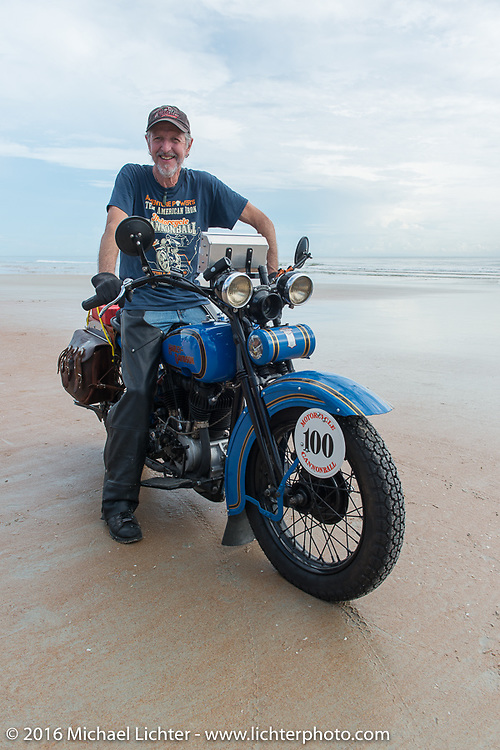 Pat Simmons of the Doobie Brothers on his 1929 Harley-Davidson JD on the sands of Daytona Beach for the official start of Stage 1 of the Motorcycle Cannonball Cross-Country Endurance Run, which on this day ran from Daytona Beach to Lake City, FL., USA. Friday, September 5, 2014.  Photography ©2014 Michael Lichter.