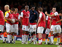 Photo: Ed Godden/Sportsbeat Images.<br /> Arsenal v Sevilla. UEFA Champions League Group H. 19/09/2007. Arsenal players celebrate at the end of the game.