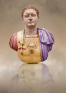 Painted colour verion of Roman marble sculpture bust of Emperor Domitian  81-96 AD, inv 6061, Naples Museum of Archaeology, Italy