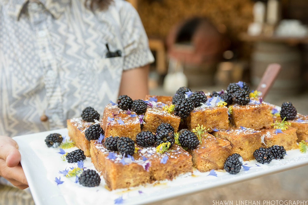 Cornbread french toast with blackberries