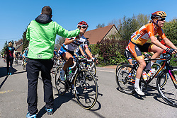Carmen Small (Cervélo Bigla) grabs a bottle in the feedzone - Flèche Wallonne Femmes - a 137km road race from starting and finishing in Huy on April 20, 2016 in Liege, Belgium.