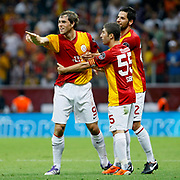 Galatasaray's Johan ELMANDER (L) celebrate his goal with team mate during their Turkish Super League soccer match Galatasaray between Samsunspor at the Turk Telekom Arena at Seyrantepe in Istanbul Turkey on Sunday, 18 September 2011. Photo by TURKPIX