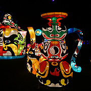 London, UK. 23rd November 2017. 'Magical Lantern Festival' VIP Night with an all-new show transforming historic Chiswick House Gardens into a fairytale world of light sculptures, Chinese arts, Virtual Reality, games & food and funfair at Chiswick House Gardens.