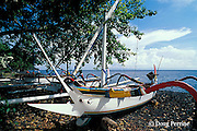 traditional sail-powered outrigger fishing boats on beach, Tulamben Bay, Bali, Indonesia