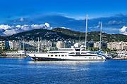 Super yacht docked in the harbor, Ibiza, Eivissa, Balearic Islands,  Spain.