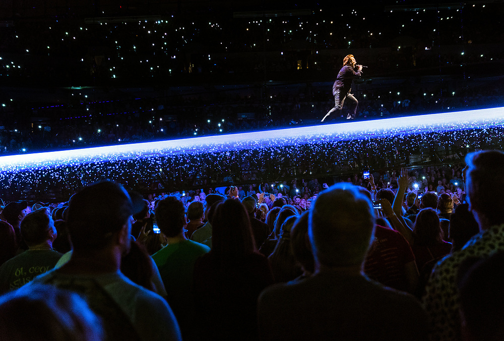 Bono performs with U2 live at the CenturyLink Center on Saturday, May 19, 2018, in Omaha.<br /> <br /> MATT DIXON/THE WORLD-HERALD