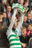 Odsonne Edouard holds the William Hill Scottish Cup aloft following their victory today in the William Hill Scottish Cup Final match between Heart of Midlothian and Celtic at Hampden Park, Glasgow, United Kingdom on 25 May 2019.