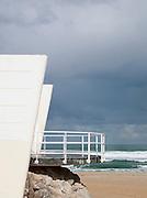 Modern architecture seen at La Concha beach near San Sebastian, Spain