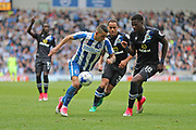 Brighton & Hove Albion winger Anthony Knockaert (11) takes on Blackburn Rovers striker Lucas Joao (18) during the EFL Sky Bet Championship match between Brighton and Hove Albion and Blackburn Rovers at the American Express Community Stadium, Brighton and Hove, England on 1 April 2017.