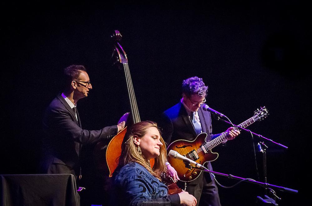 Madeleine Peyroux performing with Jon Herington (guitar) and Barak Mori (bass) at SOPAC in South Orange, NJ.